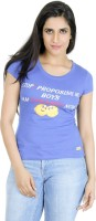 Texco Printed Womens Round Neck Blue T-Shirt