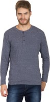 Hypernation Solid Men's Henley Grey, Black T-Shirt