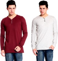 Lemon & Vodka Solid Mens Henley Maroon, Silver T-Shirt(Pack of 2)