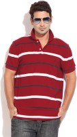 Nautica Striped Men's Polo Neck Red T-Shirt