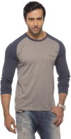 Cult Fiction Solid Mens Round Neck Grey, Blue T-Shirt