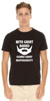 Giftsmate Printed Men's Round Neck Black T-Shirt