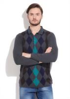 Peter England Geometric Print Mens Polo Neck Grey T-Shirt