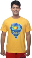 Clickroo Printed Men's Round Neck Yellow T-Shirt