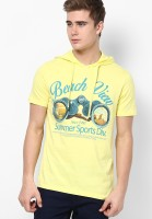Ajile by Pantaloons Printed Men's Hooded Yellow T-Shirt