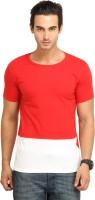 Fio Solid Men's Round Neck Black, Red T-Shirt