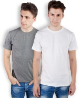 TOMO Solid Men's Round Neck Grey, White T-Shirt(Pack of 2)