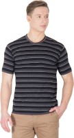 Hypernation Striped Men's Round Neck Black, Grey T-Shirt