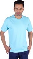 Humbert Solid Mens Round Neck Light Blue T-Shirt