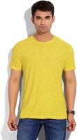 John Players Solid Men's Round Neck Yellow T-Shirt
