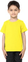 99Tshirts Boys Solid Cotton T Shirt(Yellow, Pack of 1)