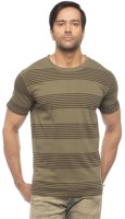 Cult Fiction Striped Mens Round Neck Green T-Shirt