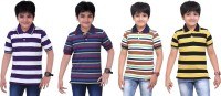 Dongli Boys Striped T Shirt(Multicolor, Pack of 4)