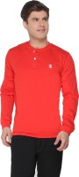 The Cotton Company Solid Men Henley Red T-Shirt