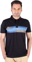 Swag Geometric Print, Striped Mens Polo Neck Multicolor T-Shirt