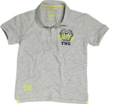 SuperYoung Solid Boys Polo Neck Grey T-Shirt