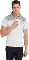 Elaborado Printed Mens Polo Neck White, Black T-Shirt
