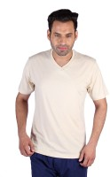 Humbert Solid Mens V-neck Beige T-Shirt