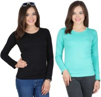 SayItLoud Solid Women's Round Neck Black, Light Green T-Shirt(Pack of 2)