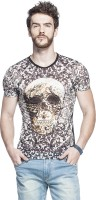 Tinted Printed Mens Round Neck Multicolor T-Shirt