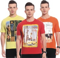 TAB91 Printed Men's Round Neck Multicolor T-Shirt(Pack of 3)
