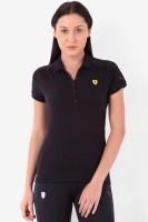 Puma Solid Womens Polo Neck Black T-Shirt