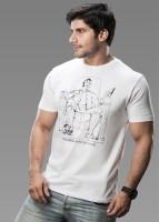 Imagica Printed Mens Round Neck White T-Shirt