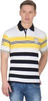 Wilkins & Tuscany Striped Men's Polo Neck Gold T-Shirt