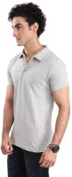 Inkovy Solid Mens Polo Neck Grey T-Shirt
