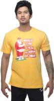 Clickroo Printed Men's Round Neck Yellow T-Shirt