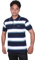 Norwood Striped Men's Polo Neck White, Dark Blue, Blue T-Shirt