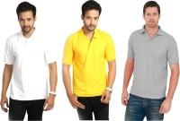 Keepsake Solid Men Polo Neck Multicolor T-Shirt(Pack of 3)