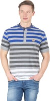 Wilkins & Tuscany Striped Men's Henley Blue T-Shirt