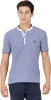 Mufti Solid Men Henley Blue T-Shirt