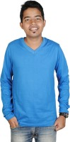 Vilva Solid Mens V-neck Blue T-Shirt