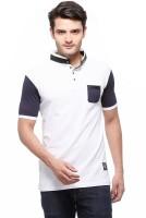 Fasnoya Solid Men's Mandarin Collar White T-Shirt