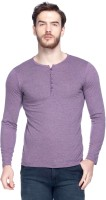 Tinted Solid Mens Henley Purple T-Shirt