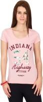 Alibi Printed Womens Round Neck Pink T-Shirt