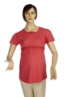 Mama & Bebe Solid Women's Round Neck Pink T-Shirt