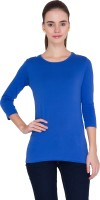 Alibi Solid Womens Round Neck Blue T-Shirt