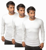 Nitlon Solid Mens Round Neck White T-Shirt(Pack of 3)