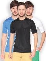 Campus Sutra Solid Men Round or Crew Denim Black, Grey, Blue, White, White, Grey T-Shirt(Pack of 3)