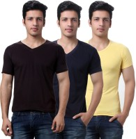 TeeMoods Solid Mens V-neck Brown, Yellow, Dark Blue T-Shirt(Pack of 3)