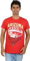 Red Line Graphic Print Men Round Neck Red T-Shirt