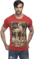 Cult Fiction Graphic Print Mens Round Neck Orange T-Shirt