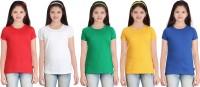 Sini Mini Girls Solid T Shirt(Multicolor)