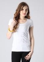 Calvin Klein Printed Women's Round Neck White T-Shirt
