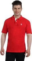 The Cotton Company Solid Men's Polo Neck Red T-Shirt