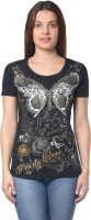 Meira Printed Womens Round Neck Black T-Shirt