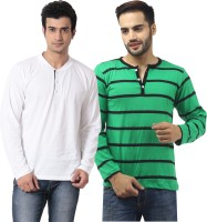 Leana Striped Mens Henley Multicolor T-Shirt(Pack of 2)